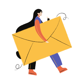 graphic of woman carrying a huge envelope. used as icon for email us